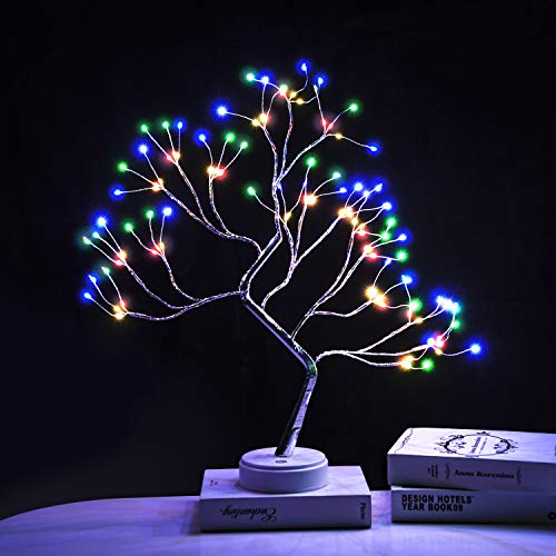 EXTRAFEIN Artificial Bonsai Tree Lights - 108LED Table Decor Colorful Tree Fairy Lamp, Battery/USB Operated, Lit Tree Centerpieces for Jewelry Holder,Christmas Festival Decoraction,Mini Night Light