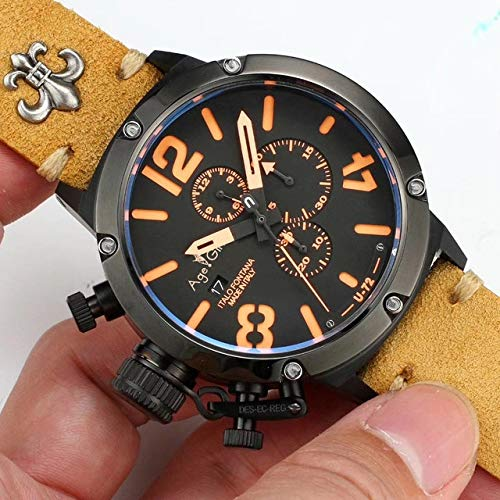 HHBB Marca de lujo cronógrafo cronómetro hombres cronómetro marrón negro caso de cuero barco reloj zafiro naranja blanco Aaa+ marrón naranja