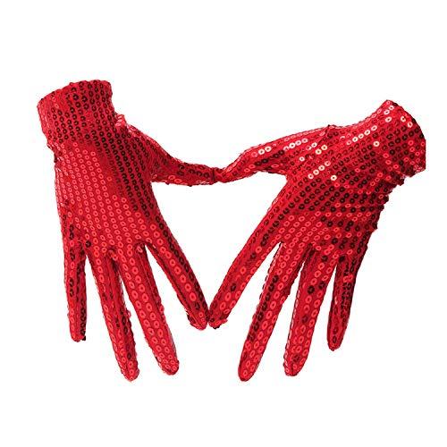 Handschuhe Tanzende Handschuhe Paillettenhandschuhe Nachtclub Sänger Tanzperformance Glänzende Pailletten Kurze Handschuhe (Color : Red)