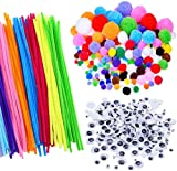 Craft Pipe Cleaners,Pipe Cleaners Craft Set 250PCS Pompones + 150PCS Ojos Saltones Ondulados +100PCS Tallos de Chenilla para Decoraciones de Manualidades Navideñas de Bricolaje,500 piezas Multicolores