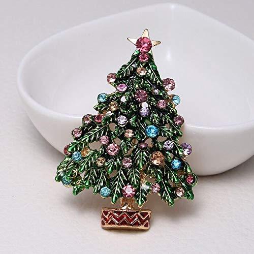 WWWL Broche de Mujer Árbol de Esmalte Verde broches Mujeres Hombres Navidad árbol Fiesta Causal Oficina Brooch Pins Regalos