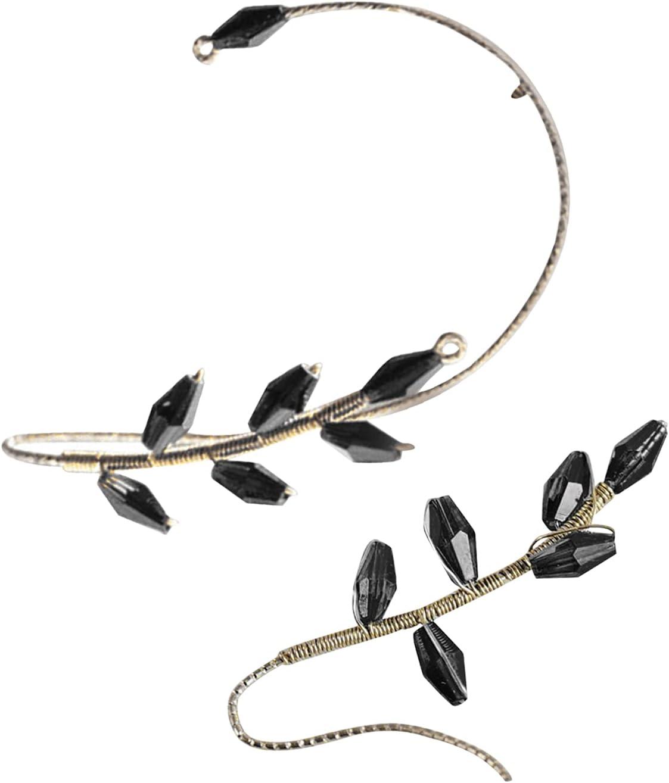 Vintage Ear Cuff Earrings Wrap Around - Clip On and Pierced-Free Earrings, 1 Pair Wrap-Around Crystal Ear Studs Beaded Earring Women Jewerly (G)