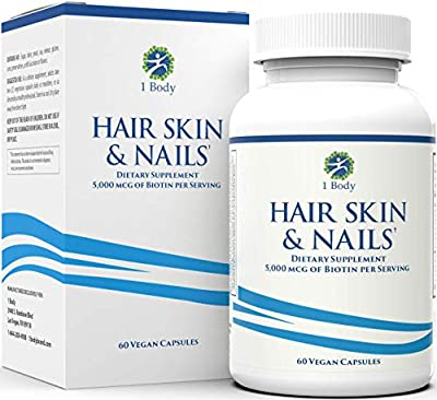 Hair, Skin, & Nails Vitamins – 5000 mcg of Biotin to Make Your Hair Grow & Skin Glow with 25 Other Vitamins - Nail Growth and Skin Care Formula for Men & Women