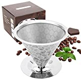 Coffee Filter with Base,Reusable Cone Shape Coffee Filter 6-12 Cup Compatible with Cuisinart Coffee Filter,Compatible with Ninja Coffee Bar Brewer