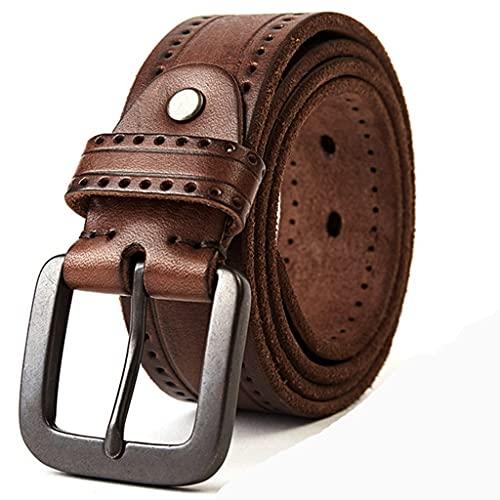 NMJKH Cintura in pelle naturale da uomo in metallo duro in metallo smerigliato da uomo in pelle originale cintura in pelle 100-150 cm jeans accessori a vite cintura (Color : C, Size : 110cm)