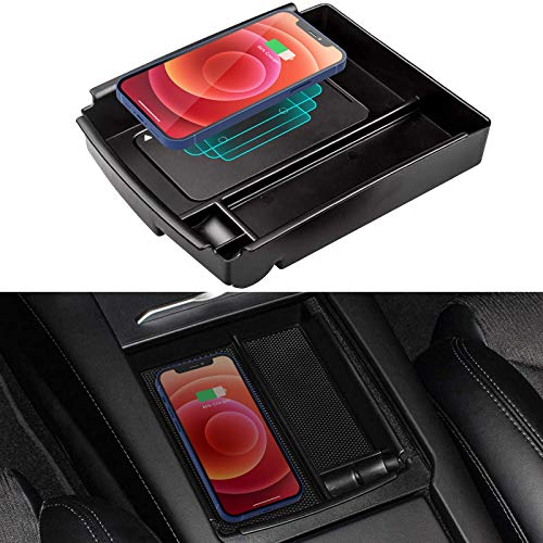 TAPTES for Model X S 2016 2017 2018 2019 Center Console Storage Box with Wirelesss Charging Function, Center Console Organizer + Fast Phone Charging Charger Pad, Accessories for Tesla Model X and S