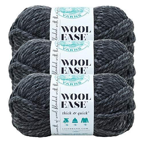 Lion Brand Yarn 640-503 Wool-Ease dickes und schnelles Garn, 97 m, Granit