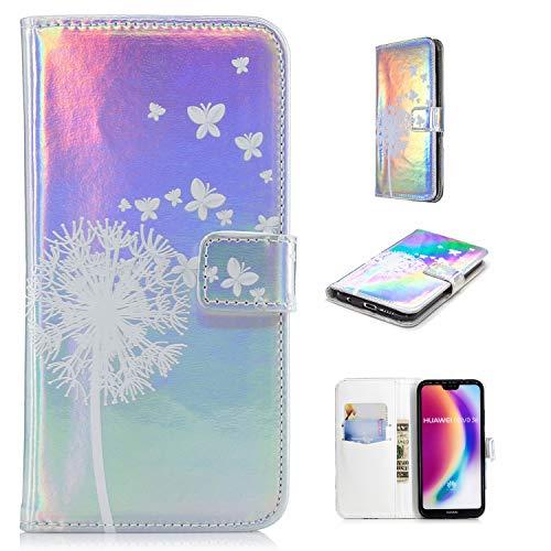 Klassikaline Coque Huawei P20 Lite, Étui en Cuir Huawei P20 Lite, Housse en Cuir pour Huawei P20 Lite - Papillon Pissenlit