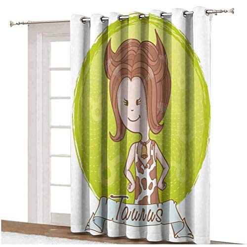 Taurus Window Curtain Cute Cartoon Little Girl Dressed Like Cow with Spots and Horns Image Decorative Thermal Backing Sliding Glass Door Drape ,Single Panel 100x108 inch,for Glass Door Light Caramel