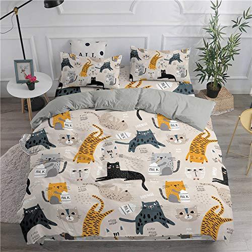 Qiutian Cartoon beddengoedset schattige kat afdrukken 3D dekbedovertrek tweelingen complete set van King Size tweepersoonsbed beddengoed 140x210cm Sxj0506-1