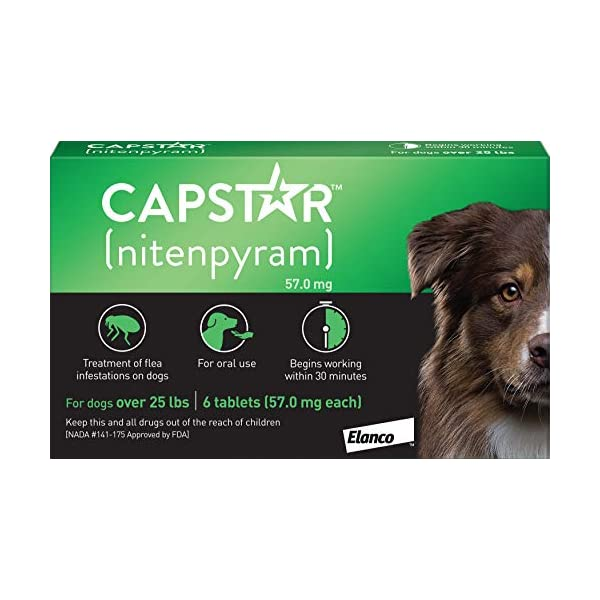 Capstar Fast-Acting Oral Flea Treatment for Large Dogs, 6 Doses, 57 mg (26-125 lbs)