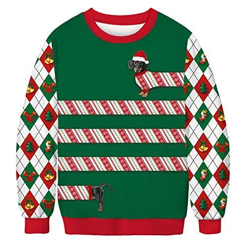 LUOYLYM Weihnachten Hund Digitaldruck Frauen Langarm-Pullover Mode Paar Herbst Rundhals Hemd BFT074 L