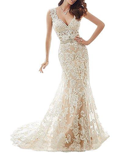 YASIOU Hochzeitskleid Standesamt Damen Lang Tüll Spitze Meerjungfrau Vintage Herzausschnitt Brautkleid