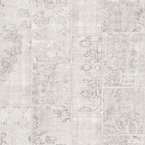 Tapete Kelim-Patchwork Hellgrau - 935263 - von Sanders & Sanders