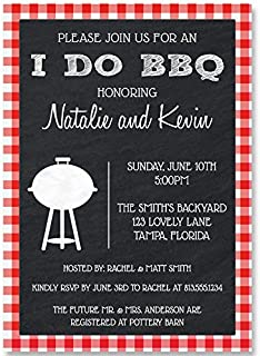 I Do BBQ Bridal Shower Invitations Barbecue Wedding Party Invites Rehearsal Dinner Picnic Couples Gingham Grill Cook Out Chalkboard Plaid Red Black Bachelor Bachelorette Summer Pool Blowout (10 count)