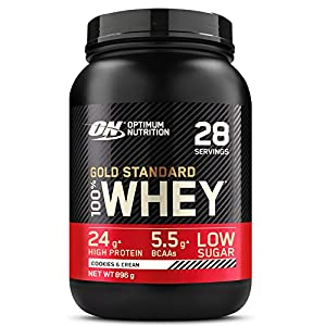 Optimum Nutrition Gold Standard 100% Whey Proteína en Polvo, Glutamina y Aminoácidos Naturales, BCAA, Galletas y Crema, 28 Porciones, 896g, Embalaje Puede Variar