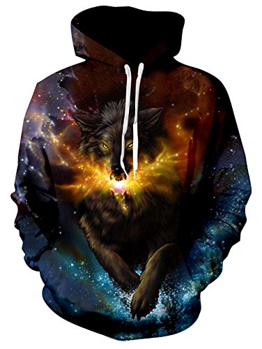 Men and Women Novelty Fleece Hoodies Galaxy Space Wolf Printed Casual Pullover Athletic Sweaters Long Sleeve Fleece Hooded Sweatshirts