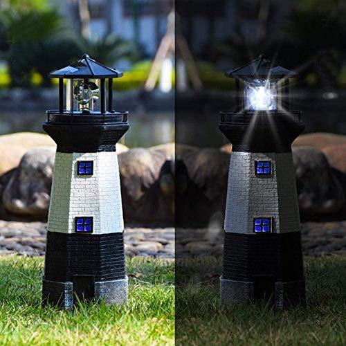 LED Solar Leuchtturm, Bis zu 8 Stunden 360 Grad rotierendes LED-Leuchtfeuer, 28 cm Garten Deko Leuchtfeuer Gartendeko Beleuchtung Mit Dämmerungssensor Solarbeleuchtung (schwarz)