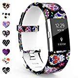 TreasureMax Compatible with Fitbit Charge 2 Bands for Women/Men,Silicone Fadeless Pattern Printed Replacement Floral Bands for Fitbit Charge 2 HR Wristbands