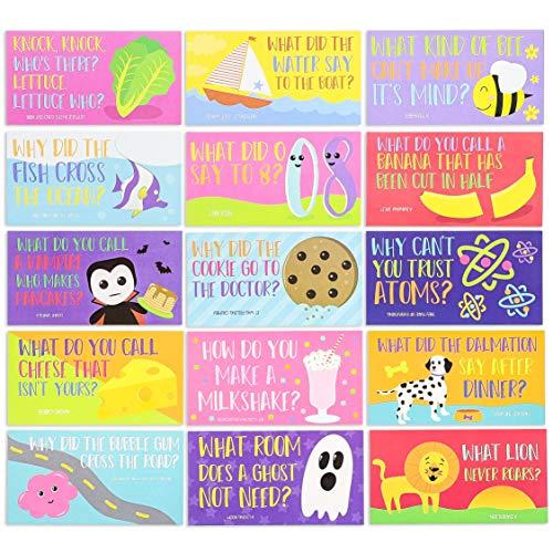 Pack van 60 Lunch Box Notes - Jokes, kleurrijke kaarten, 60 ontwerpen, eenzijdig afdrukken - als AI bestand