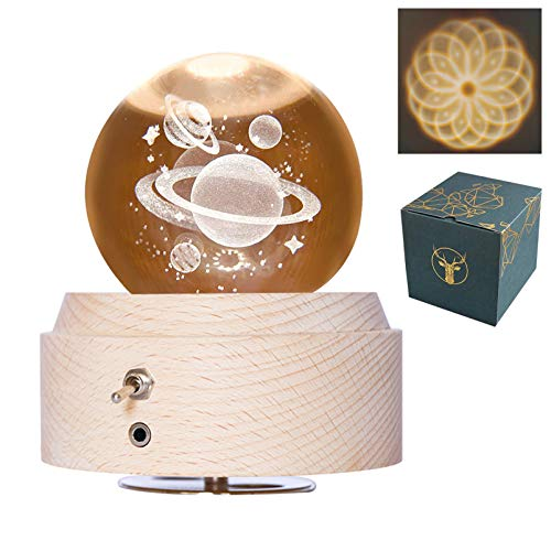 DUTISON Bola de cristal musical con luz – Bola de nieve giratoria con proyección iluminada, regalo para niños, amantes de la Navidad