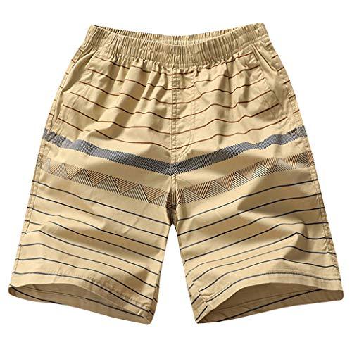 Xmiral Shorts Hose Herren Elastische Taille Schnelltrockn Strandhosen Badehose Surfhosen Einfarbig Streifen Plaid Gedruckte Große Größe(A Gelb,XL)
