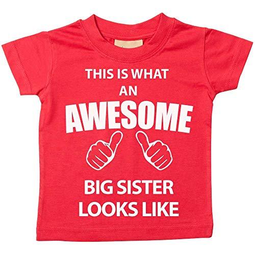 C'est CE qu'un Awesome Big Sister Looks Like Rouge T-shirt bébé tout-petit enfants Disponible en tailles 0–6 mois pour 14–15 ans Nouveau bébé sœur Cadeau rouge Red 0-6 mois