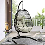 JOYBASE Hammock Swing Chair with Stand, Hanging Egg Chair, Wicker Rattan Teardrop Chair with Cushion and Pillow for Indoor Outdoor Bedroom Patio Garden