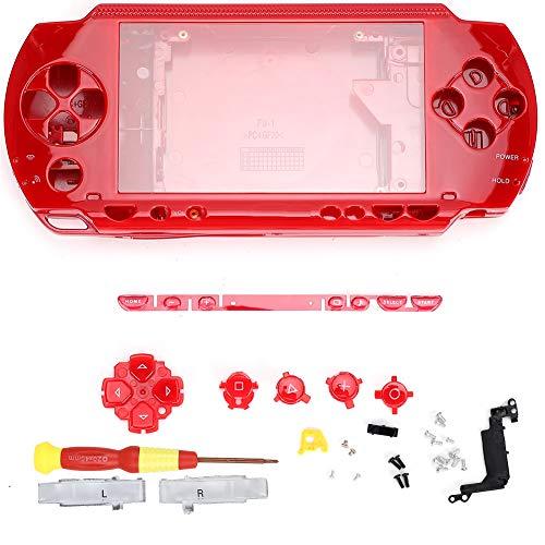 Lazmin Reemplazo de la Funda Protectora PSP de la Funda del Controlador, Consola de Juegos, Carcasa con Destornillador para Consola PSP1000(Rojo)