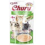 INABA Churu Sticks - Golosinas para Gatos Que se Pueden lamer para Alimentar con la Mano - Delicioso y Saludable refrigerio para Gatos - Pollo y Vieira