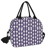 Bolsa de almuerzo, caballitos de mar blancos en púrpura ultra violeta bolsa de picnic reutilizable lonchera de almuerzo con correa de hombro para trabajo, escuela, playa