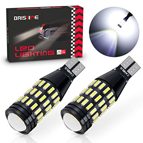 BRISHINE 1500 Lumens Extremely Bright Canbus Error Free 921 912 906 904 T15 W16W LED Bulbs 51-SMD 4014 LED Chipsets with Projector for Backup Reverse Lights, 6500K Xenon White (Pack of 2)