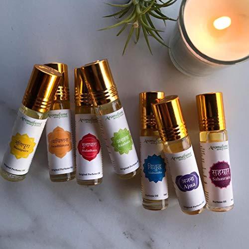 Aromafume 7 Chakra Essential Oil Blends Roll On Set (Ajna, Vishuddha, Anahata, Manipura, Muladhara, Sahasrara & Swadhistana) - Pure Oils for Meditation, Yoga, Relaxation & Chakra Alignment
