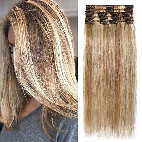 TESS Echthaar Extensions Clip in Ombre Remy Haar Extensions guenstig Haarverlängerung 18 Clips 8 Tressen Lang Glatt, 16