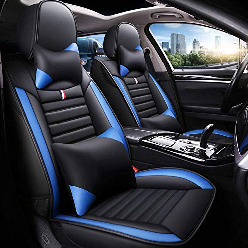 Fly5D Full Set Car Seat Cover, Professional PU Leather Full Surround, Waterproof Comfortable Durable, Easy to Clean, Fit for 5 Seats Cars/SUV/Truck/Vans,All Seasons Universal (Black&Blue)