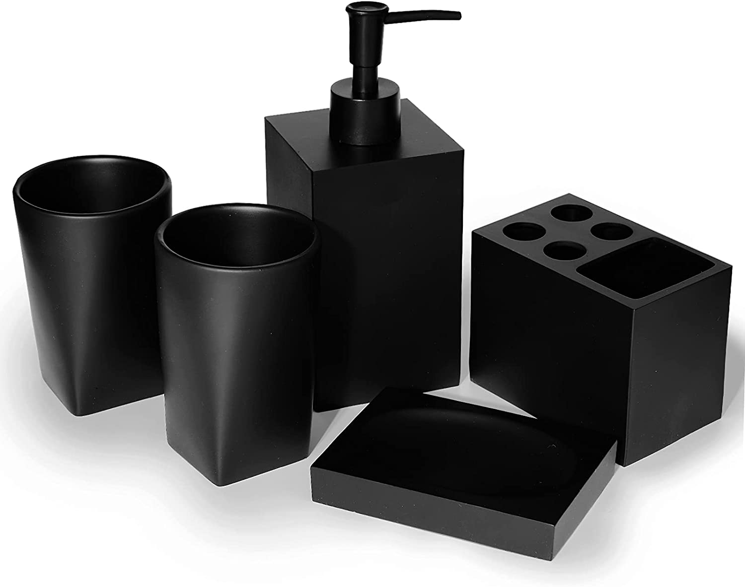 soulamor Bathroom Accessories Set, 5 Pcs Matte Black Bathroom Accessory for Counter Top Restroom Apartment, Complete Accessories Sets with Soap Dispenser, Toothbrush Holder, Tumbler, Soap Dish
