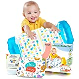 BABY K Inflatable Baby Roller Toy (Blue) - Tummy Time Toys for Crawling Babies - Early Development Baby Activity Roller with Rattles and Ball - Crawling Toys for Babies 6-12, 0-6, 7-8, 10-18 Months