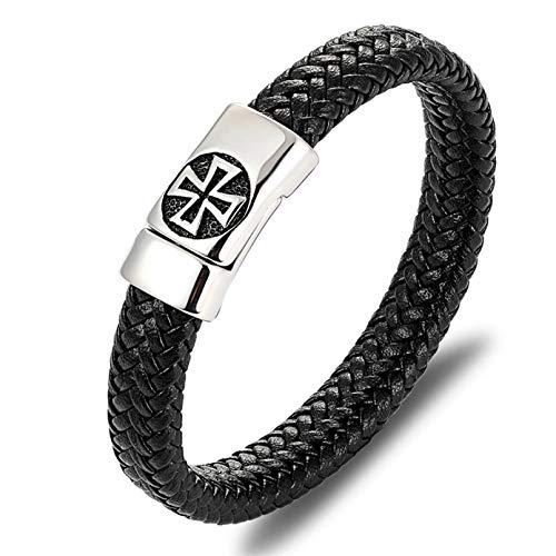 HUIZHANG Schwarze Farbe Kreuzmuster Legierung SchnalleArmband für Männer Edelstahl FineSculpture Armband