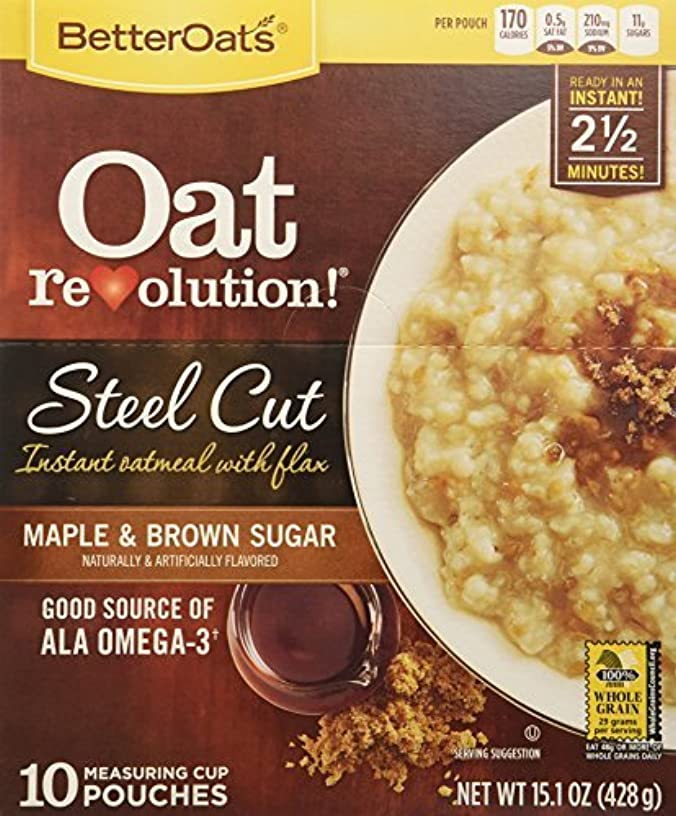 Better Oats Steel Cut Oats with Flax Maple & Brown Sugar 10 Pouches (Pack of 2) by Better Oats