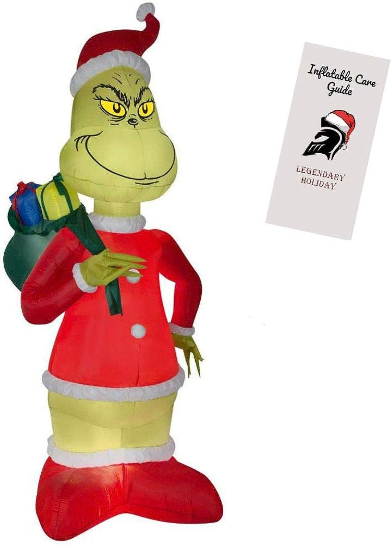Generic Grinch Aufblasbare Weihnachtsdekoration – Grinch stiehlt Weihnachten im Weihnachtsmannanzug mit Geschenksckchen 244 cm hoch mit aufblasbarer Pflegeanleitung (in englischer Sprache)
