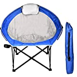Grepatio Oversized Camping Chair - Comfy Moon Round Camp Chair with Adjustable Cup Holder, Headrest, Carry Bag - Portable Folding Camp Chair for Outdoor Picnic, BBQ, Fishing, Hiking