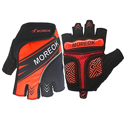 Guantes de Equipo de Bicicleta de montaña Deportes al Aire Libre Reflectantes y Transpirables Medio Dedo-Negro rojo-M-D57
