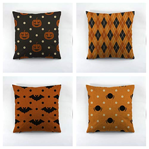 Halloween And Pumpkin Decorative Cotton Cushion Cover For Sofa Throw Cushion Cover For Seat Chair