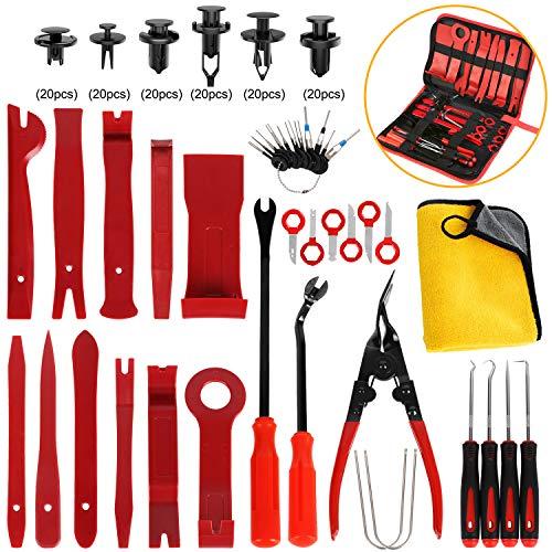 AUTMOR Car Auto Trim Removal Tool, Pry Kit, Car Panel Tool Radio Removal Tool Kit, Auto Clip Pliers Fastener Remover Pry Tool Kit, Car Upholstery Repair Tools (38 pcs car Trim Tool)