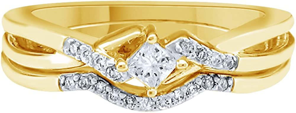 0.2 Ct AFFY White Natural Diamond Bridal Set Ring in 10k Solid Gold
