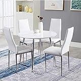 GOLDFAN Esstisch und 4 Essstühlen Esszimmergruppe Runder Tisch und Stuhl für Wohnzimmer Küche etc Weiß