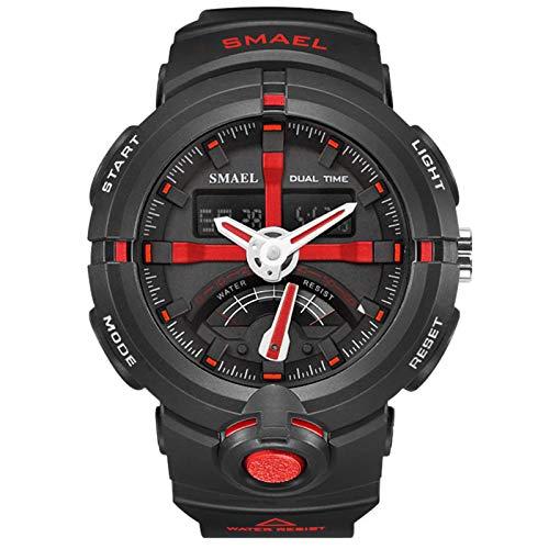 JTTM Relojes Deportivos para Hombre, Hombre Analógico Digital Al Agua Resistente Militar Grande De La Cara Deportes Al Aire Libre Relojes Electrónicos,Rojo