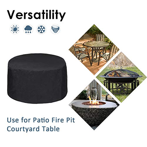 Essort Round Table Cover/Fire Pit Cover, φ80 X 40cm Waterproof 600D Oxford Protective Garden Patio Furniture Set Dining Table and Chair Cover Anti- Dust UV Rain Bird Drops, Black Round
