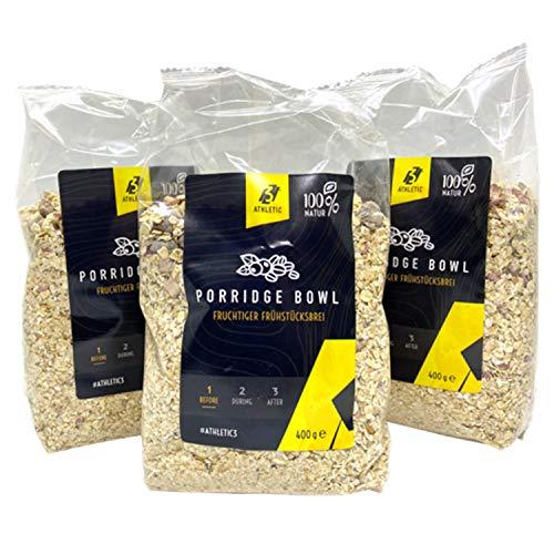ATHLETIC 3 Porridge Bowl - fruchtiger Frühstücksbrei - Früchte, Nüsse, Samen - Müsli - Haferschleim für Sportler - ohne Zukerzusatz