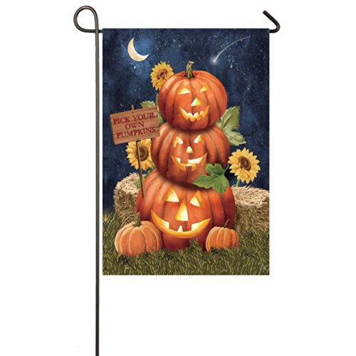 Gifted Living 14S3101FB Halloween Pumpkins Two Sided Garden Flag